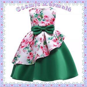 Other - 🆕🌷Green & Pink Princess Floral Bow Tutu Dress🌷